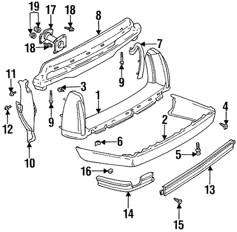 Bumper And Components Rear Scat on 1994 Cadillac Deville Concours Parts