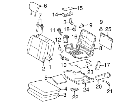 Rear Seat  ponents Scat likewise 2001 Ford F 150 Transmission Diagram additionally 95 F150 Fuel Pump Relay Location in addition Fuel Door Scat likewise Engine Diagram 1997 Nissan Pick Up. on toyota 4runner parts catalog