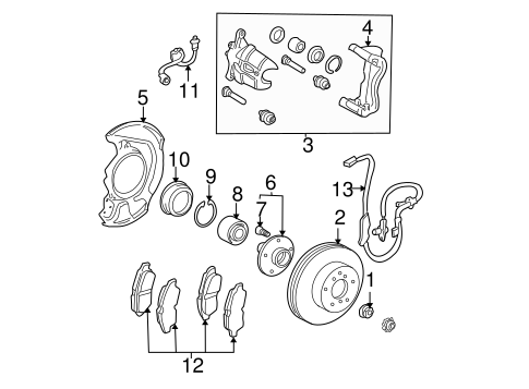 Brake  ponents Scat as well Toyota Bearing Support 4345707010 additionally 231521932012 besides Inner Tie Rod End Location also 2005 Mitsubishi Montero 3 8l Serpentine Belt Diagram. on toyota sienna bearing