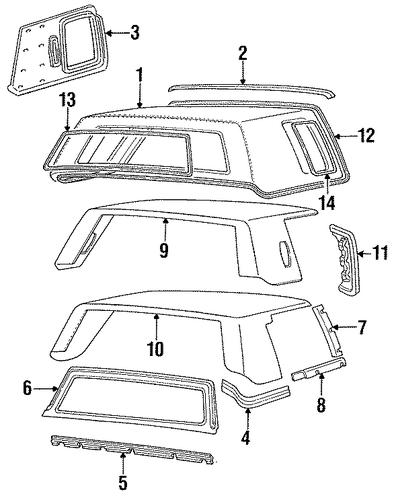 Exterior Trim Roof Parts For 1989 Cadillac Deville