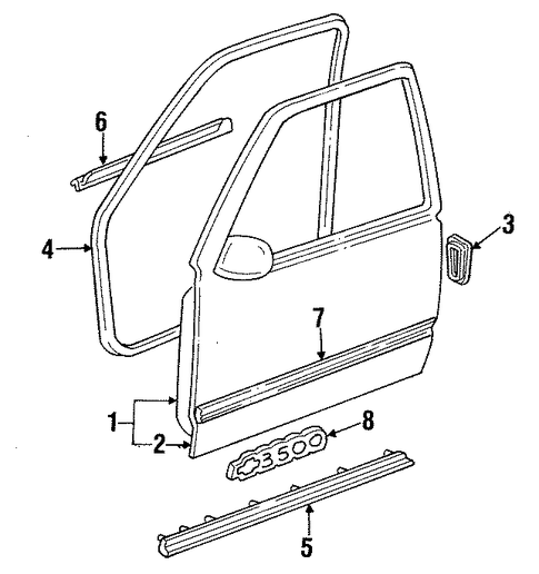 door shell for 1996 gmc suburban k1500