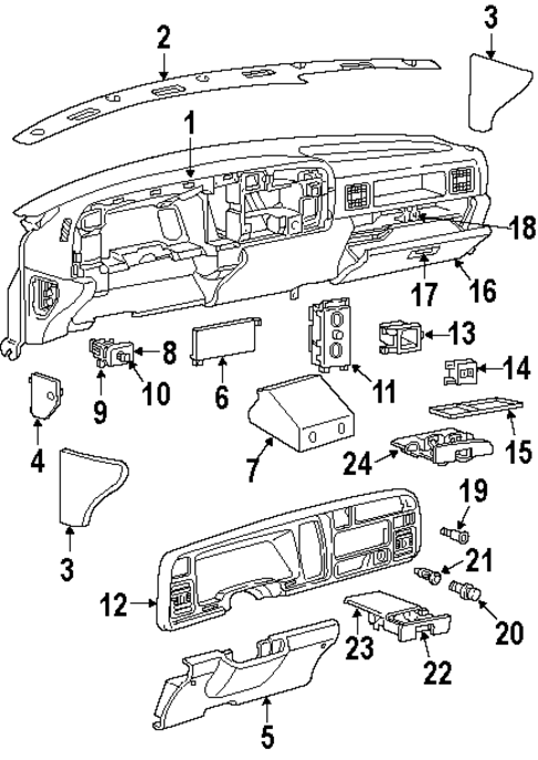 body  instrument panel for 1995 dodge ram 2500  1