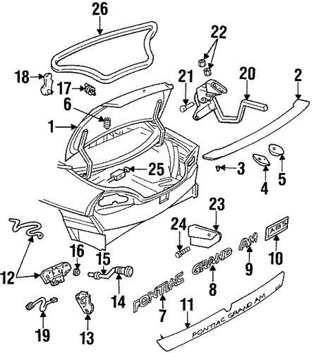 oem lid  u0026 components for 1997 pontiac grand am