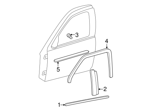 Exterior Trim Front Door For 2002 Oldsmobile Alero Gl