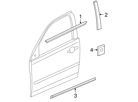 Exterior Trim Front Door For 2008 Pontiac G6