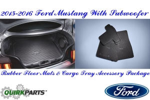 2015 2016 Ford Mustang All Weather Rubber Floor Mats And Cargo Area Protector Tray