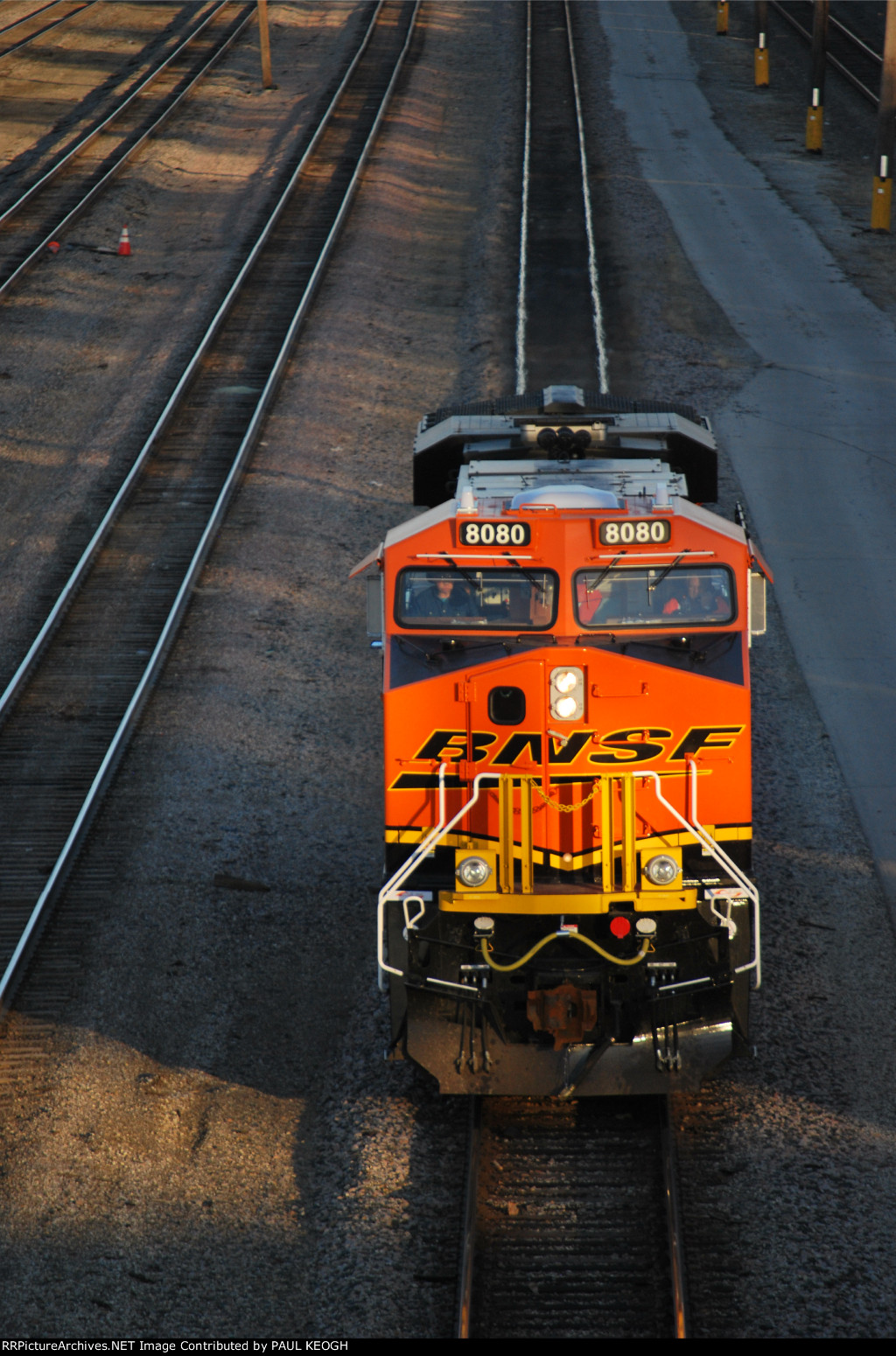 BNSF 8080 is now on Main Track #3 heading west to the short tower as the Sun Reflects off Her BNSF Swoosh Logo on the cab door!!!