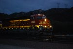 BNSF 8046 Lights Up Her BNSF Swoosh Reflective Logo as she Heads eastbound towards Sullivan's Curve at Twilight :))).