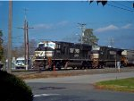 """NS 2619 with """"whiteface"""" as NS 12G southbound train approached thru Wyoming town"""