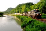 Pan Am Southern Train number 22K traverses Pownal Curve in late-day light