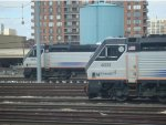 NJ Transit PL42ACs 4018 and 4031 sitting in Hoboken Yard.