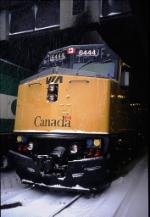 Via 6444 at Toronto Union Station during a March blizzard.