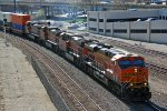 BNSF 7587 Heads up a EB stack train...