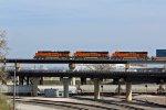 BNSF 6807 Leads a Stack train toward Argentine yard.