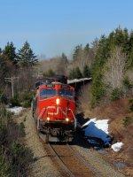 CN 2281 leading train 407 westward