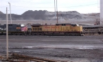 UP 6477 leading coal train that is unloading