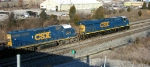 CSX 779 and CSX 2573 leading empty unit coal train