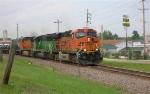 BNSF 7779 leading WB unit coil train