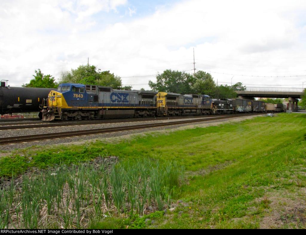 CSX 7843 and 7802; NS 2105