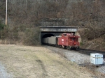 A rare sight as a caboose enters the Mingo Tunnel on a mine run