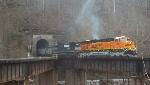 BNSF 5861 coming off The Buchanan Br.crossing the Tug
