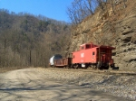 NS 555018 Caboose behind 98J work train MP 437