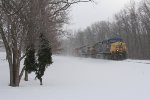 CSX 169 & 131 round the curve just before Seymour with Q335 on a blustery January day