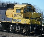 BNSF 8705, close-up of cab view, engineer's side