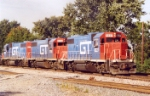 Nice sound of three GT GP38's lead eastbound at South Bend, In