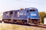 GE leads Conrail eastbound at South Bend, In