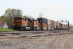 BNSF 6731 Rolls a slow moving stack train eastbound...