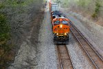 BNSF 7208 rolls a stack train to a stop..
