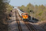 BNSF 8202 Brand new Gevo leads a WB Z train..