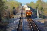 BNSF 6587 Rolls down hill with a stack train..