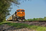 BNSF 6295 Rolls a empty coal to a stop on the UP high speed main..