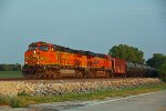 BNSF 5116 Leads a empty oil can into the evening sun..
