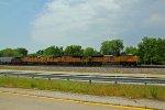 UP 8482 Leads a NB 2 bay Frac sand train up the KCS main.