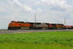 BNSF 4044 Leads a mixed freight into Elsberry Mo.