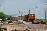 BNSF 6099 Gets under way at Elsberry with a loaded coal drag.