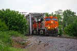 BNSF 6189 heads over the river bridge in Old Monroe Mo.