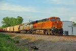 BNSF 7056 Brings a Csx loaded grain train down the K-Line.