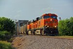 BNSF 5830 Heads up a coal load over the river bridge in Old Monroe Mo.