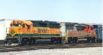 BNSF transfer with GP60 warbonnet at 32nd street.
