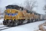 Eastbound transfer trundles through the snow
