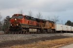 BNSF 1057 and UP 5546 lead an NS Roadrailer EB at MP65 Wabash line