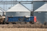 Ex GTW 4704 working a string of grain cars at The Andersons Elevator