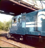 CR U33-B #2904 taking old switcher eastbound, Boden lane bridge West Natick - part 2