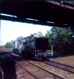 CR U33-B #2904 taking old switcher eastbound, Boden lane bridge West Natick - part 3