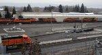 BNSF 5319 - BNSF 5028 - BNSF 619 (N bound), BNSF 2824 (yard duty), BNSF 8107 - BNSF 6912 (S bound autorack), BNSF 5766