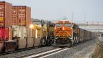 BNSF 6370 coal drag north passes UP 9796